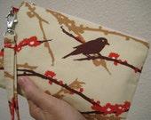 wedding CLUTCH, gift pouch, 2 pockets, bridesmaids, wedding, handmade, iphone- Sparrow bark