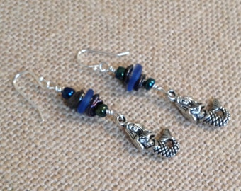 Beaded Mermaid Sea Glass Earrings-2 Color Choices