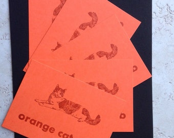 Five letterpress orange cat postcards