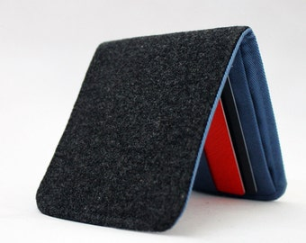 OhSoRetro Mens Wallet / Super Thin Minimalist BiFold Fabric Wallet / Dark Grey Wool / Non-Leather Wallet