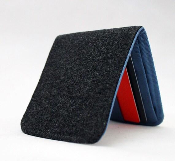 SALE OhSoRetro Mens Billfold Wallet / Super Thin Minimalist BiFold Fabric Wallet / Dark Grey Wool / Non-Leather Wallet