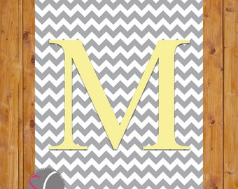 Chevron Monogram Digital Print Letter M Wall Art Nursery Art with Initial Grey Chevron Yellow Alphabet  Nursery