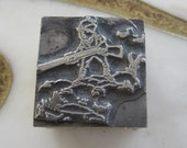 Antique Letterpress Printers Block Man Hunting Rabbit Hunter