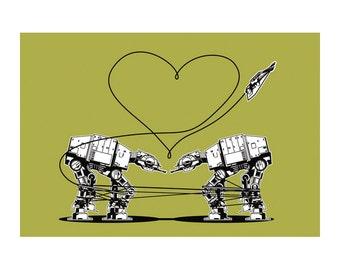 Star Wars Stationery, Star Wars Valentines, Postcard: Green AT-AT Walkers, Star Wars Valentines Cards, Valentine for Men