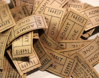 Vintage Beige Admit One Tickets- package of 50 loose tickets, ephemera, paper collages, assemblage