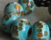 Perles intercalaires de verre au chalumeau à la main corail sable Frit en cuivre vert Orange 2 4 5 ou 6 perle ensembles