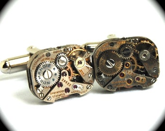 NORMANDY with STARS Steampunk Watch Cufflinks Vintage Movement by Nouveau Motley Rectangles