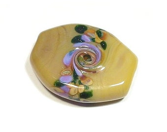 Honey Mustard Garden  Big Tabular  Focal  Glass Lampwork Bead