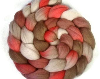 Handpainted Superfine Merino Wool Roving - 4 oz. CHERRY COLA - Spinning Fiber