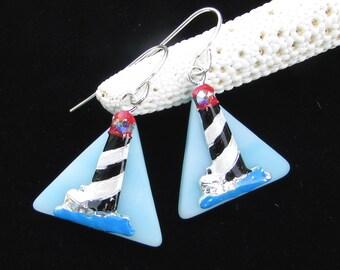 Lighthouse Earrings Hand Painted on Aqua Glass
