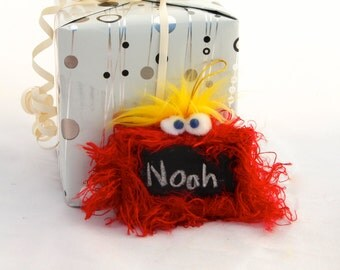 Gift Tag Furry Monster Chalkboard Ornament, Red with Yellow Hair