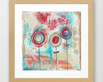 flower, painting, moder, contemporary art, white, blue, blooms, lace, mixed media, red, scarlet, flowers