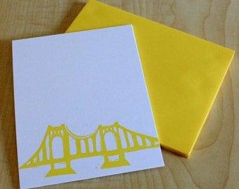 Pittsburgh Yellow Bridge Stationery - Roberto Clemente Bridge - Bridge Note Cards - Handmade Stationery - Set of 6