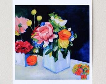 flower painting large giclee print - 17x22  - floral art - modern still life- White Vase