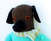Brown and Black Girl Dog wool doll