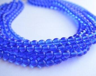 The Michelle- Light Cobalt Blue Czech Glass Statement Necklace