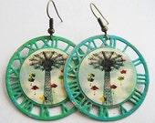 Coney Island NY Parachute Jump Enamel Clockwork Earrings - Brooklyn New York