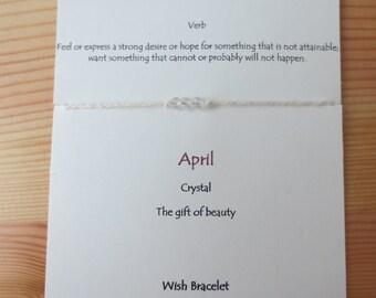 April  Wish Bracelet Three Wishes Bracelet Crystal Dimond Birthday Wish Bracelet Bridal Shower Favor Under 10