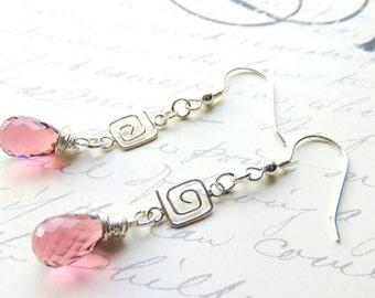 Plum Quartz Dangle Earrings - Luxe AAA Stone Earrings - Wire Wrapped - Mauve Greek Key Earrings