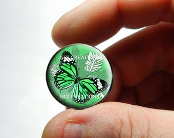 25mm 20mm 16mm 12mm 10mm or 8mm Glass Cabochon - Green Monarch Butterfly - for Jewelry and Pendant Making
