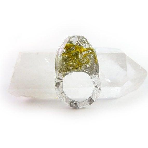 Terrarium + Silver Leaf Resin Ring • Size 7.5 • Geometric Terrarium Ring • Science Specimen Ring • Nature Moss Eco Resin Ring