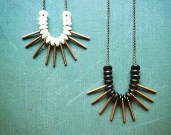 Brass Fringe Necklace | Rustic Brass Necklace | Statement Necklace | Metal Fringe Necklace | Modern Rustic | Boho Jewelry | Black | White