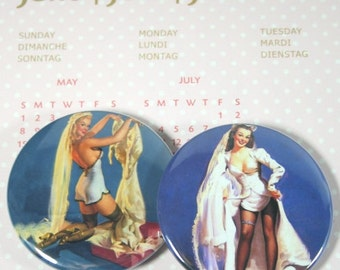 Bachelorette Party Favors,  Pinup Bride Magnets, Button Mirrors OR Bottle Openers, Set of 5
