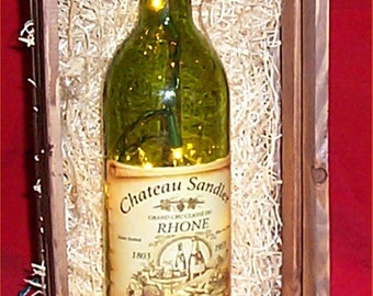Wine Bottle Light Wood Crate Glass Says Fragile Tuscan Home Decor Handcrafted