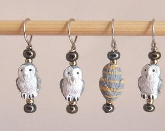 Ceramic Barn Owl Stitch Markers--Set of Six