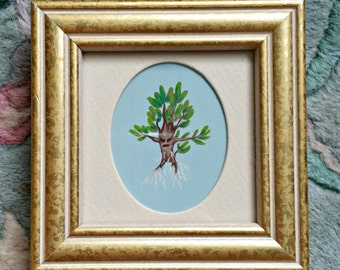 Mandrake-Fantasy Fairy Tale Original Acrylic Painting 2x2.5-By Alexandria Sandlin Cherrybones