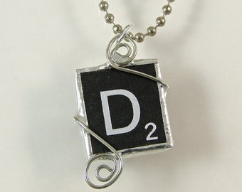 Black Letter D Scrabble Pendant Necklace