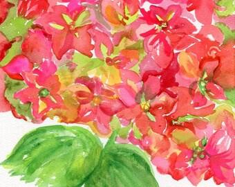Hydrangeas watercolors paintings original, 8 x 10, Red and green hydrangeas painting, hydrangeas wall art SharonFosterArt floral  florals