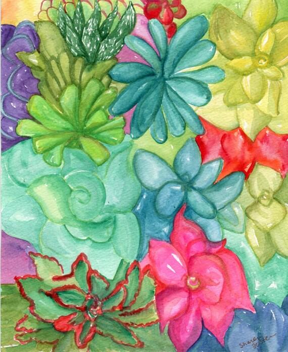 Succulents Watercolor Paintings Original, succulent wall art, watercolor painting of succulents, watercolor of succulents art