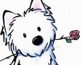 WESTIE TERRIER Dog Original Art Illustration Flower Miniature Rose