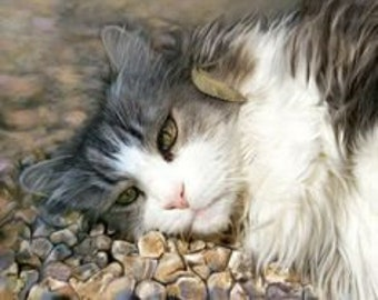 Custom Realistic Pet Portrait Painting on Archival Paper Lifelike Highly Detailed cat art hand painted from your photo