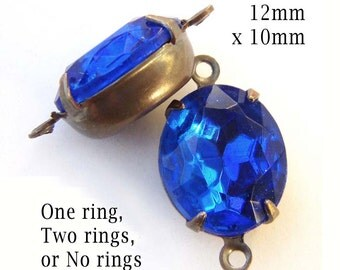 Sapphire Blue Vintage Glass Beads, Patina Brass Settings, Oval, Rhinestone Jewels, No Ring Settings or One or Two Rings, 12x10mm, One Pair