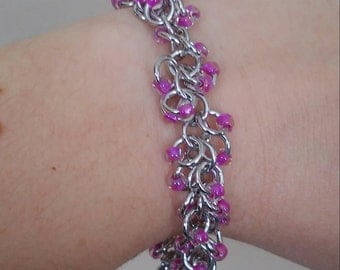 Pink Shaggy Chainmaille Bracelet