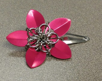 Pink Scale Maille Flower Barrette