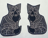 Iron On Patch Tribal Fox Appliques in Navy Felt with Light Gray Thread - set of 2