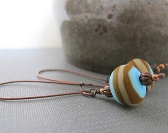 Glass Earrings, Sky Blue Brown, Brown Beige, Copper Earrings, Striped Earrings, Lampwork Glass, Kidney Earwire, Copper, Copper Jewelry