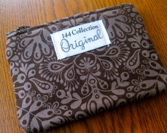 Brown Coin Purse, Brown Small Wallet, Damask Wallet, Change Purse, Coin Wallet, Too Muchery, Fabric Pouch, Zipper Wallet, Coin Pouch