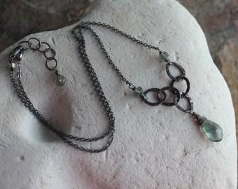 AQUAMARINE necklace, Moss Aquamarine necklace, March birthstone, March birthday, briolette necklace, sterling silver