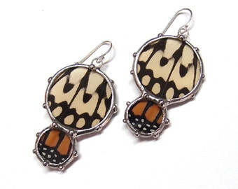 Paperwhite Kite and Monarch Butterfly Earings - Natural Jewelry - Dangle Earrings