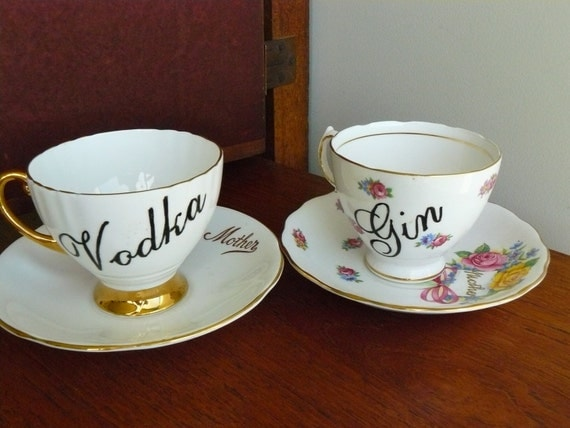 Vodka and Gin Mother hand painted vintage teacup and saucer sets x 2 humor recycled boozers