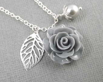Gray Flower and Leaf Charm Wedding Bridesmaids Necklace