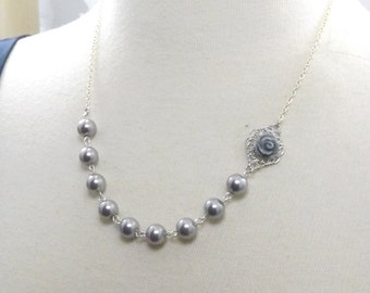 Gray and Silver Flower Bridesmaids Wedding Necklace