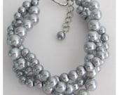 Gray Pearl Bracelet 3 Strand 3 Rows Bracelet Silver Gray Bracelet Swarovski Gray Stud Earrings Free Shipping In USA