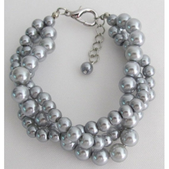 Gray Pearl Bracelet 3 Strand 3 Rows Bracelet Silver Gray Bracelet Swarovski Gray Stud Earrings Free Shipping In USA