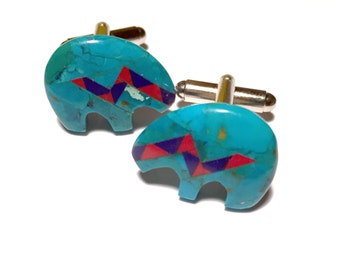 Turquoise bears cufflinks with lapis and coral inlay