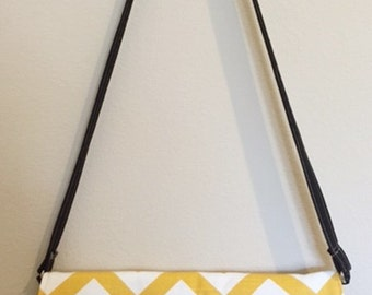 Cross body Hipster Bag | Envelop Handbag Purse | Chevron Corn Yellow Black | Ready to Ship